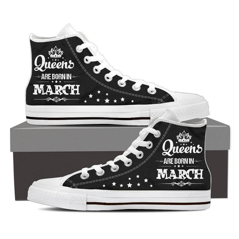 Image of Queens Are Born In March High Top Canvas Shoes -  High Top Canvas Shoes - EZ9 STORE