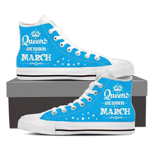 Queens Are Born In March High Top Canvas Shoes -  High Top Canvas Shoes - EZ9 STORE