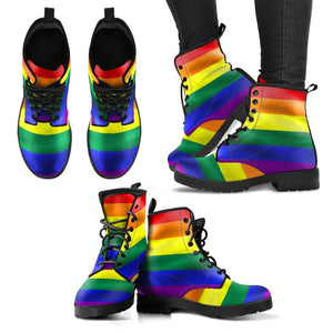 Rainbow Pride Faux Leather Boots - EZ9 STORE