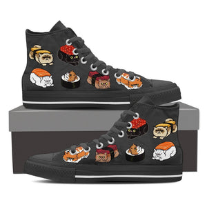 Sushi Persian Cat - Women's High Top Canvas Shoes -  High Top Canvas Shoes - EZ9 STORE