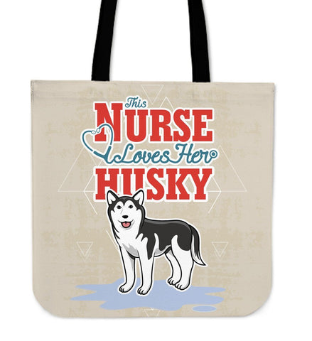 Image of This Nurse Loves Her Husky Tote Bag -  Tote Bag - EZ9 STORE
