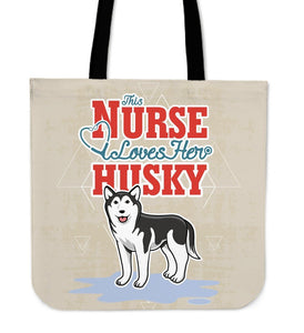 This Nurse Loves Her Husky Tote Bag -  Tote Bag - EZ9 STORE