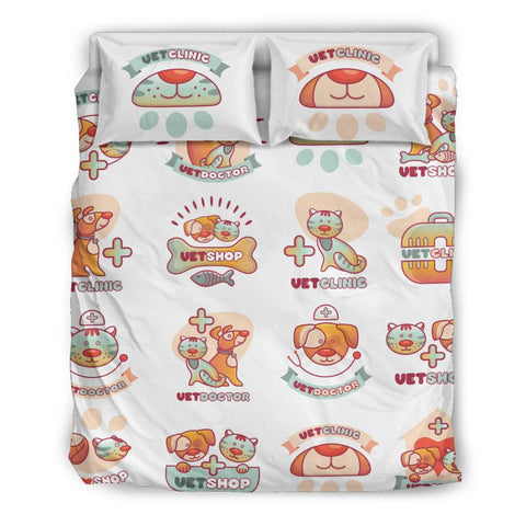 Image of Veterinary Cute Pet Pattern Bedding Set - Bedding Set - EZ9 STORE