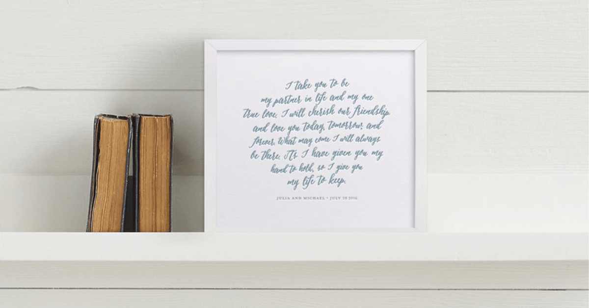 Vows printed and framed