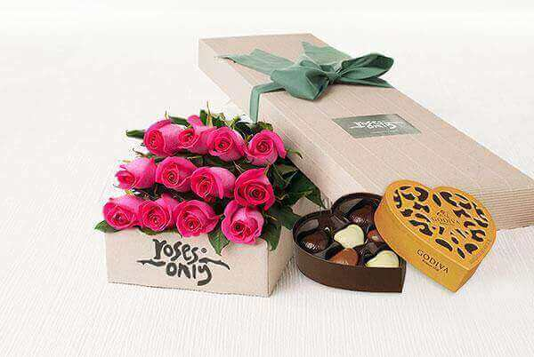 12 Bright Pink Roses Gift Box & Godiva Chocolates