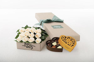 White Cream Roses Gift Box 12 & Godiva Chocolates