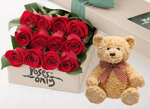 Red Roses Gift Box & Teddy Bear - 12 Long Stem Roses