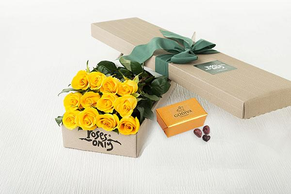 12 Yellow Roses Gift Box & Gold Godiva Chocolates