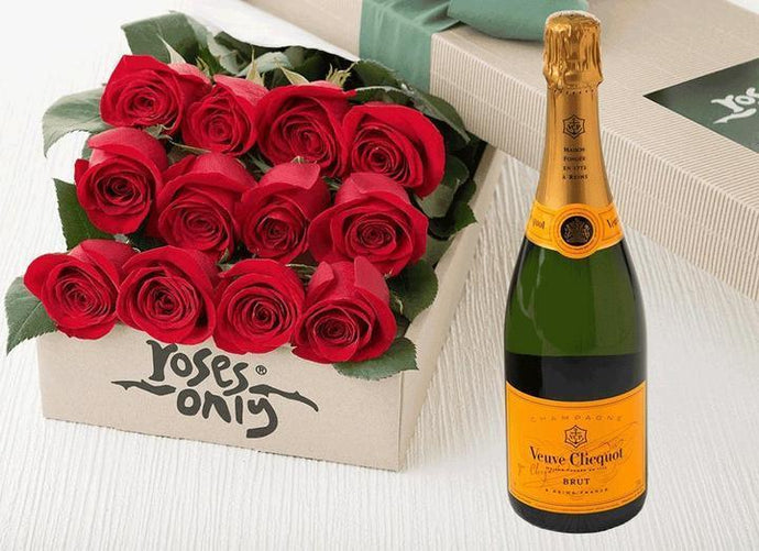 12 Red Roses Gift Box & Champagne - Roses Only