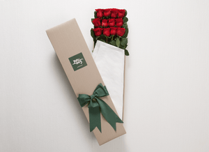 12 Red Roses Gift Box & Gold Godiva Chocolates - Roses Only