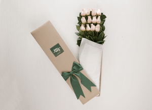 12 Pastel Pink Roses Gift Box & Gold Godiva Chocolates - Roses Only