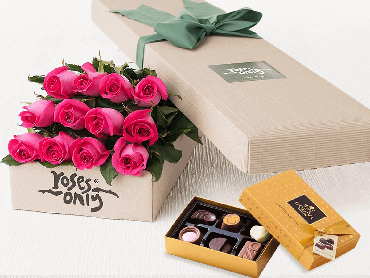 12 Bright Pink Roses Gift Box & Gold Godiva (6pc) Chocolates - Roses Only