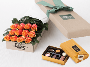 12 Cherry Brandy Roses Gift Box & Gold Godiva Chocolates - Roses Only