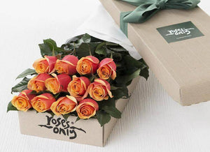 Cherry Brandy Roses Gift Box - 12 Long Stem Roses