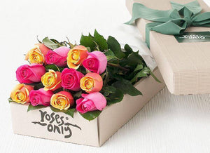 Bright Mixed Roses Gift Box - 12 Long Stem Roses