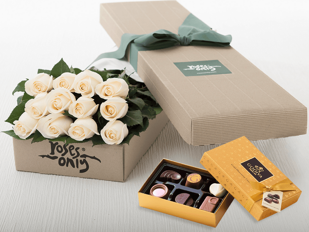 12 White Cream Roses Gift Box & Gold Godiva Chocolates - Roses Only
