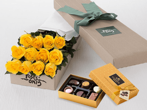 12 Yellow Roses Gift Box & Gold Godiva Chocolates - Roses Only