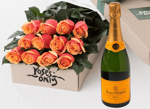12 Cherry Brandy Roses Gift Box & Champagne - Roses Only