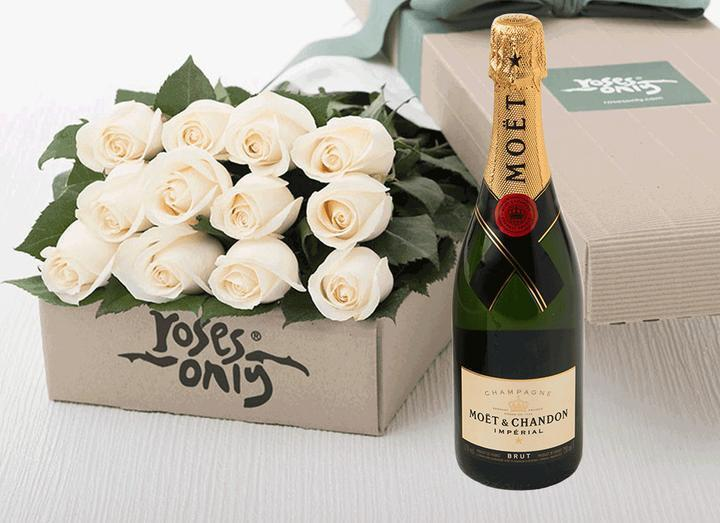 12 White Cream Roses Gift Box & Champagne - Roses Only