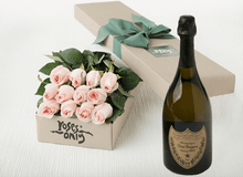 12 Pastel Pink Roses Gift Box & Champagne - Roses Only