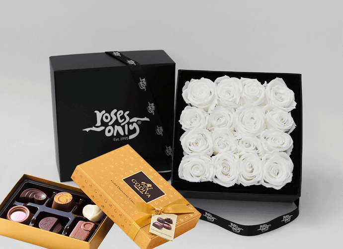 Mother's Day Stunning white cream infinity roses, beautifully presented in a black box & Gold Godiva Chocolates