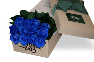 12 Blue Roses Gift Box - Roses Only