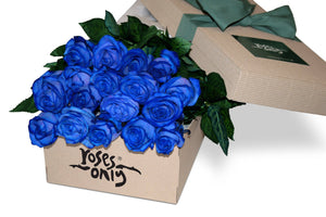 18 Blue Roses Gift Box - Roses Only