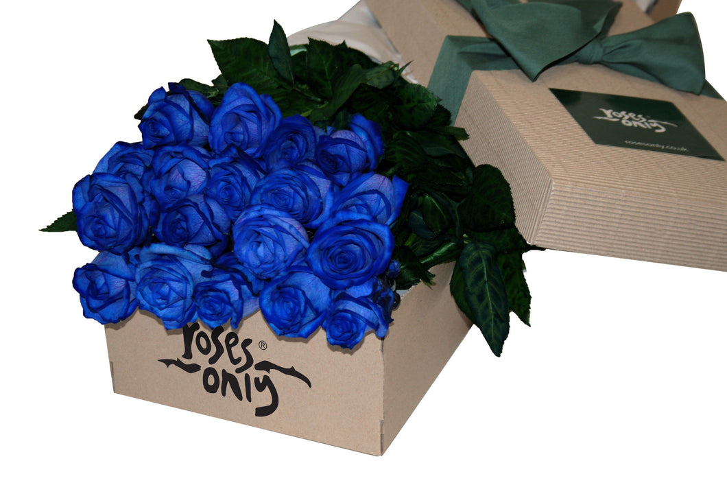 24 Blue Roses Gift Box - Roses Only