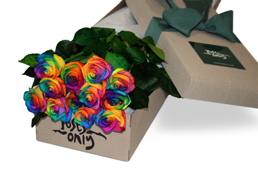 12 Rainbow Roses Gift box - Roses Only