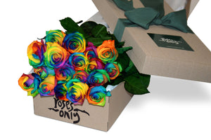 18 Rainbow Roses Gift Box - Roses Only