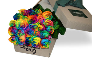 24 Rainbow Roses Gift Box - Roses Only