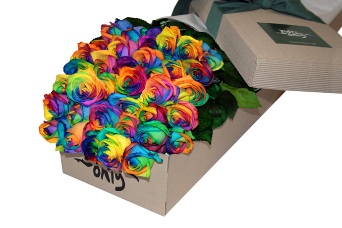 36 Rainbow Roses Gift Box - Roses Only