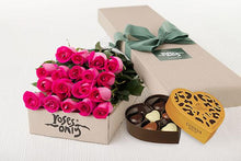 18 Bright Pink Roses Gift Box & Gold Godiva Chocolates