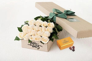 Mother's Day 18 White Cream Roses Gift Box & Gold Godiva Chocolates