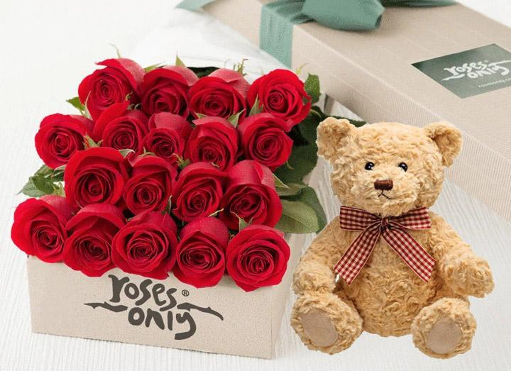 Red Roses Gift Box 18 & Teddy Bear