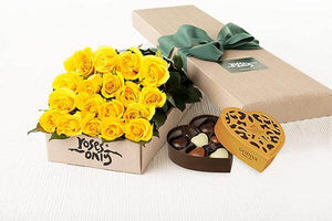 Yellow Roses Gift Box 18 & Godiva Chocolates
