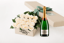White Cream Roses Gift Box 18 & Champagne