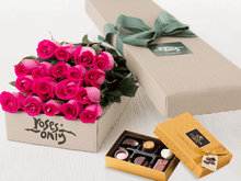 18 Bright Pink Roses Gift Box & Gold Godiva Chocolates - Roses Only