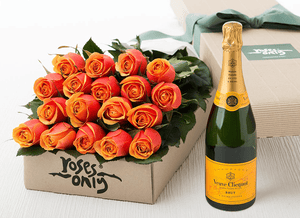 18 Cherry Brandy Roses Gift Box & Champagne - Roses Only