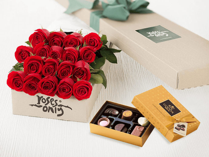 18 Red Roses Gift Box & Gold Godiva Chocolates - Roses Only
