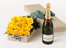 18 Yellow Roses Gift Box & Champagne - Roses Only