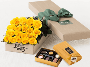 18 Yellow Roses Gift Box & Gold Godiva Chocolates - Roses Only