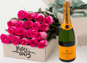 18 Bright Pink Roses Gift Box & Champagne - Roses Only