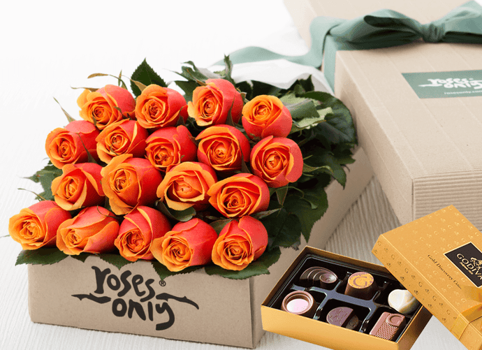 18 Cherry Brandy Roses Gift Box & Gold Godiva Chocolates - Roses Only