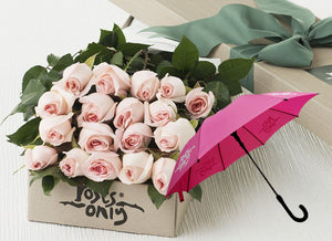 Pastel Pink Roses Gift Box 18 & Umbrella