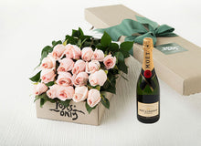 Pastel Pink Roses Gift Box 18 & Moet Chandon Brut Imperial (375ML)
