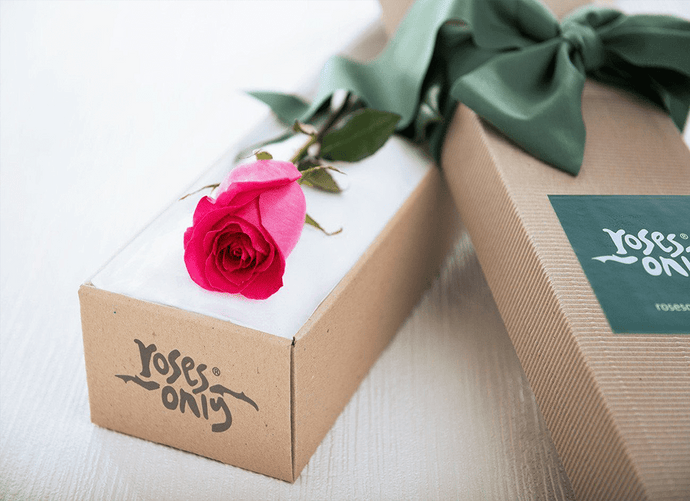 Single Bright Pink Rose Romantic Gift Box - Roses Only