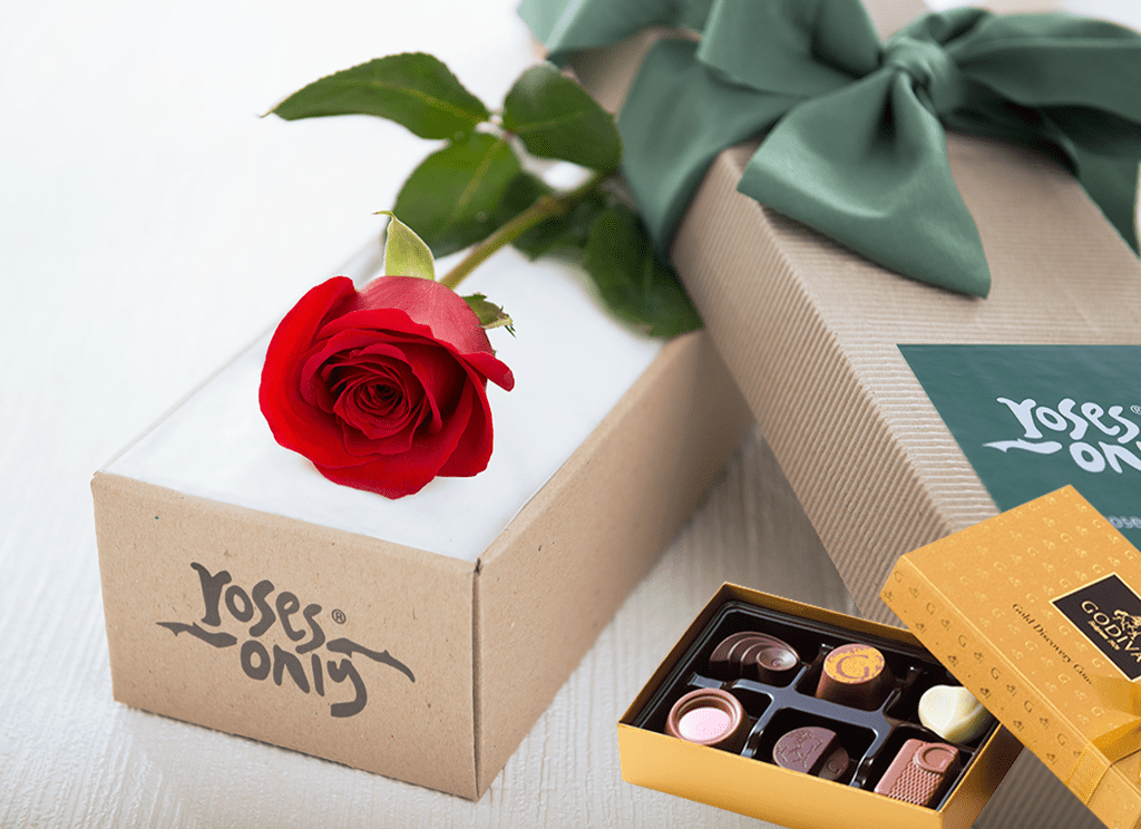 Single Red Rose Gift Box & Gold Godiva Chocolates - Roses Only