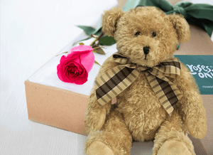 Single Bright Pink Roses Gift Box & Teddy Bear - Roses Only
