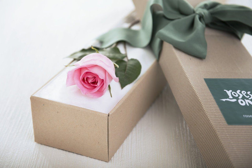Single Pastel Soft Pink Rose Romantic Gift Box - Roses Only